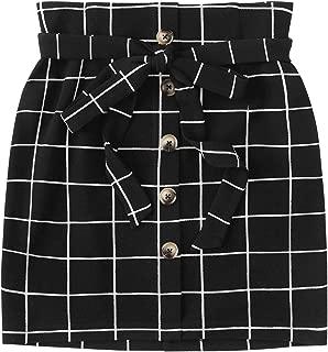 WDIRARA - Falda corta para mujer, informal, a cuadros, cintura alta, con cierre de botón, línea A,  Negro 4, L