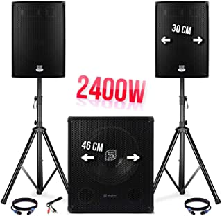 "Pack sono 2400W - 2 luidspreker 12""/ 30cm + Sub 18"" / 46cm + voet + Kabels - WSB-1812-V2"