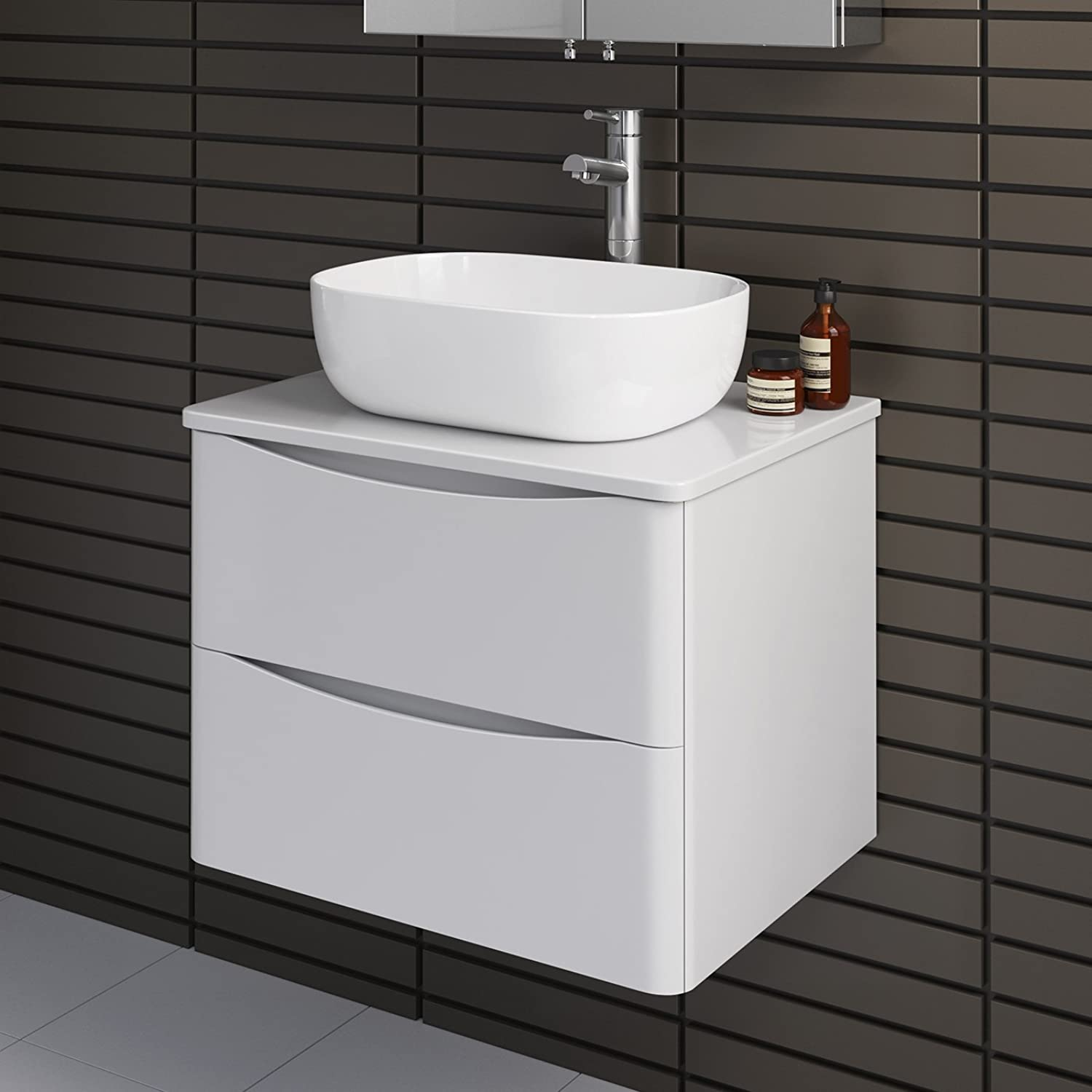 Modern Bathroom Furniture Countertop Basin Storage Unit Wall Hung Gloss White