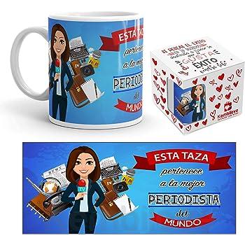 Planetacase Taza Desayuno Aquí Bebe la Mejor Periodista del Mundo Regalo Original periodistas Ceramica 330 mL ...