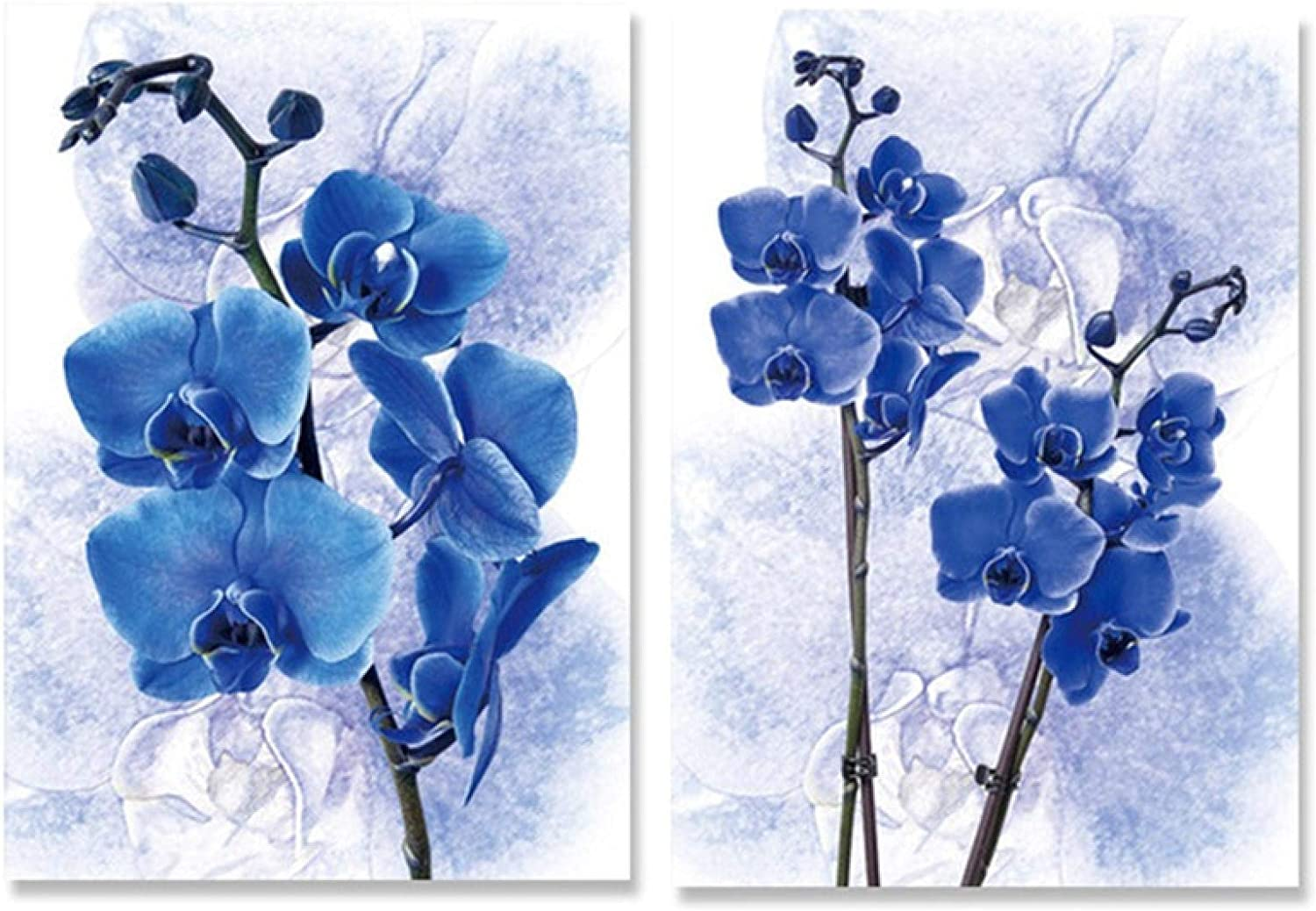 2 Panels Canvas Popular standard Art Painting Violet Print No Blue Poster Attention brand Flowers