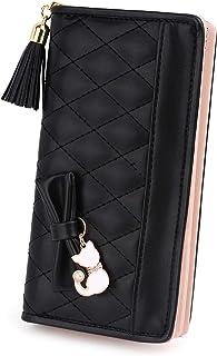 UTO Damen PU Leder Lange Brieftasche Große Kapazität mit Cute Cat Anhänger Kartenhalter Handytasche Mädchen Reißverschluss...