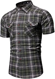 Men's Short Sleeve Plaid Printed Casual Shirt SFE Summer Button Down Collar Henley Shirt Tunic Tees with Pockets