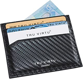 TRU VIRTU® Tarjetero ultradelgado Carbon I Estuche para Tarjetas de crédito I Tarjetero con protección RFID-NFC I Billeter...