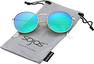 SOJOS Polarized Sunglasses Classic Small Round Metal Frame for Women Men SJ1014