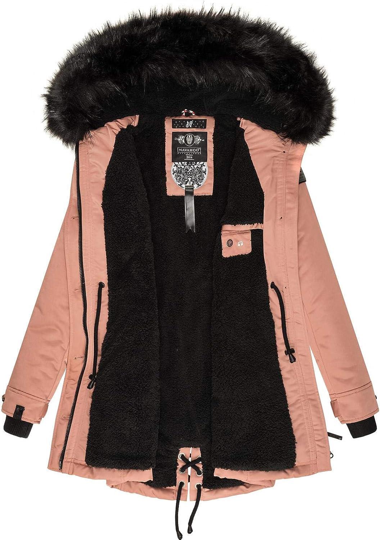 Navahoo Damen Wintermantel Winterparka mit abnehmbarem Kunstfell Luluna Prc XS-XXL Terracotta