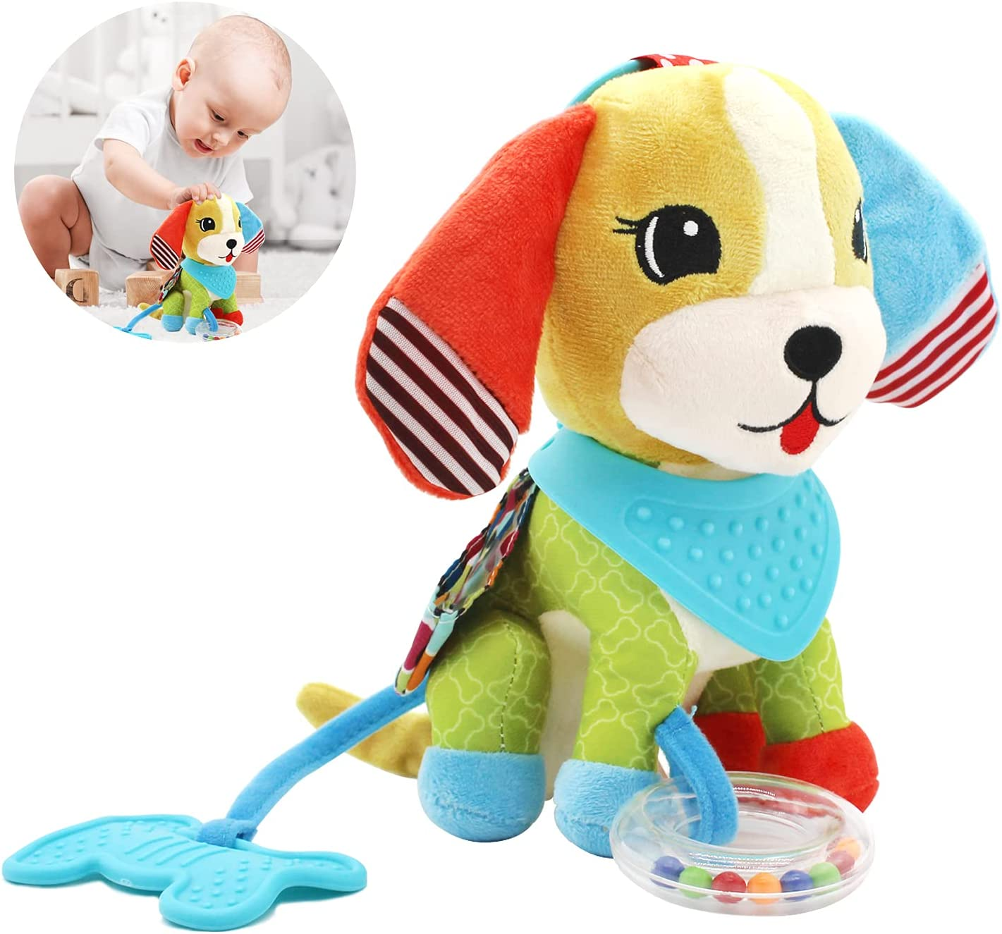 Bloobloomax Baby Car Seat Toys, Infant Soft Plush Rattle, Cute Animal Doll,Early Development Hanging Stroller Toys for Newborn Boys Girls Gifts (Dog)