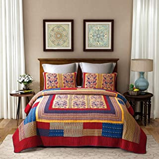 ENCOFT Floral Patchwork Quilted Bedspreads Set Luxury Cotton Hand-Stitched Embroidery Quilt Set/Coverlets Set, Queen Size (Red)