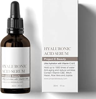 Project E Beauty Hyaluronic Acid Serum | Vitamin C & Vitamin E Plumping Oil-Free Glowing Complexion Anti-Aging Lifting Wrinkles Finelines Hydrating Moisturizing for Skin Care Facial & Eyes 30ml 1oz