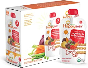 Happy Baby Organic Stage 3 Baby Food Hearty Meals Vegetables & Beef Medley w/ Quinoa, 4 Ounce Pouch (Pack of 16) Baby Food Pouches, 2g Fiber, Rich in Vitamin A, Non-GMO Gluten Free No Added Sugars