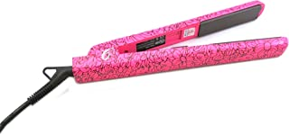Pro Flat Iron Hair Straightener with 1 Inch Ion Tourmaline Ceramic Plates - Heats Up Fast Dual Voltage (Pink Floral)