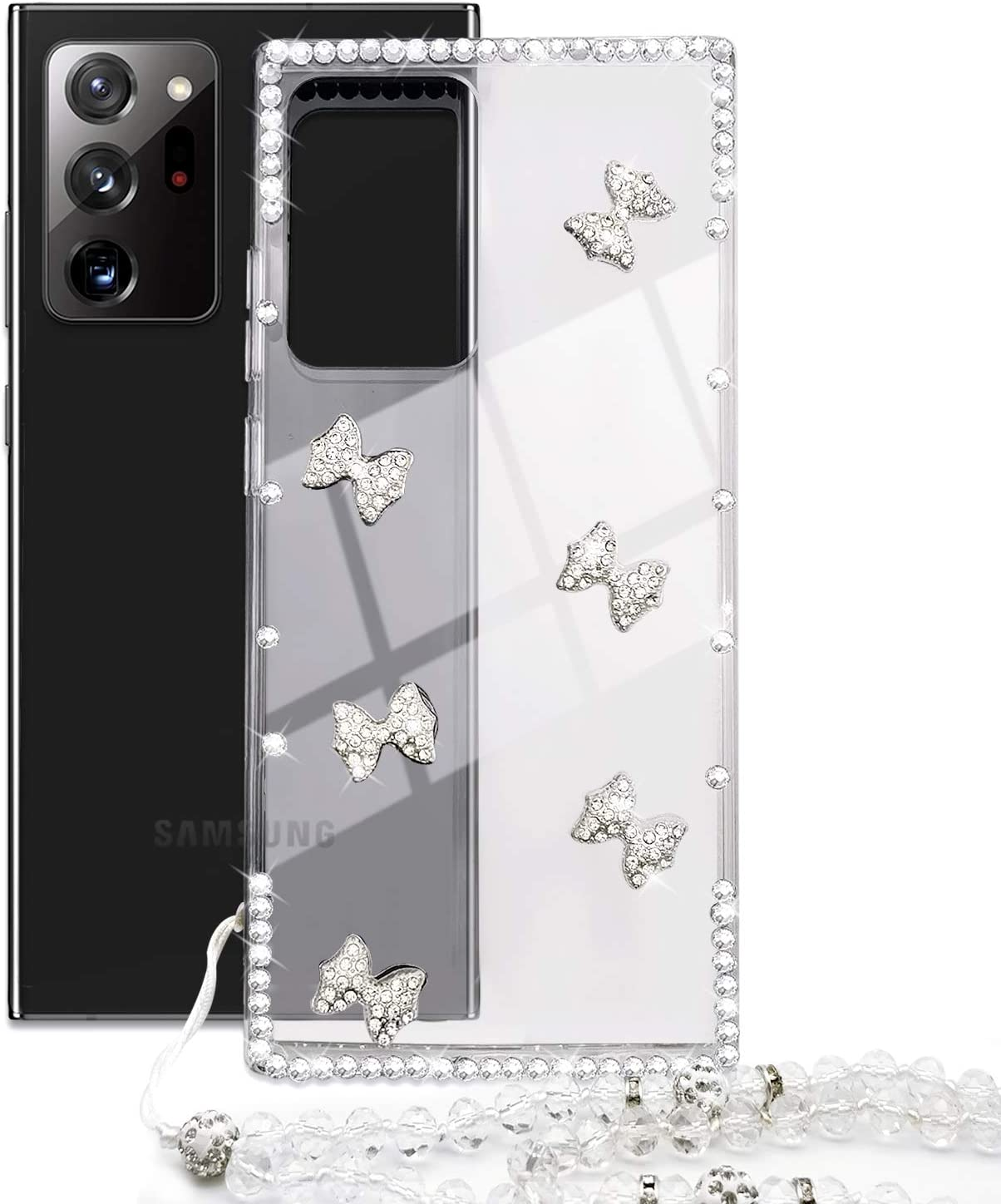 Omorro for Galaxy Note 20 Ultra Clear Case for Women, Glitter Rhinestone Bow Knot Girly Case with Shiny Crystal Lanyard Side Bling Diamond Shock Absorption Case Soft TPU Clear Slim Protective Case