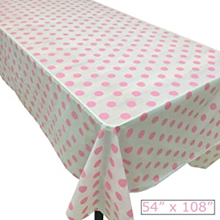 Joysail Pink Polka Dot Tablecloth - Plastic, 54 x 108 Inch - Light Pink Table Cloths for Parties - Birthday, Baby Shower Table Cover
