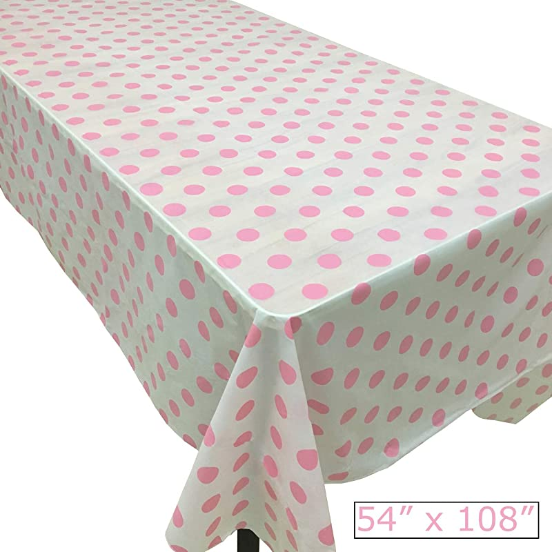 Joysail Pink Polka Dot Tablecloth Plastic 54 X 108 Inch Light Pink Table Cloths For Parties Birthday Baby Shower Table Cover