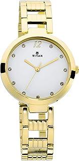 2480YM01  - تيتان سباركل السيدات ، مقاومة للماء حتى 50 متر ،وجه أبيض ، معدن ، ذهبي