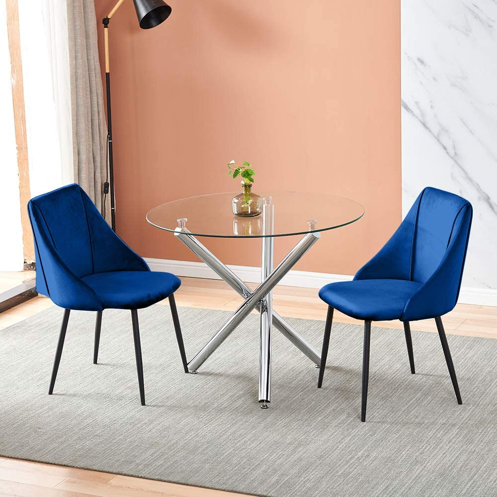 5-Piece Dining Room Set 120cm Rectangular Kitchen Table 4 Checkered Kitchen Chairs for Living Room Clear Glass Dining Table with 4 Blue Velvet Dining Chairs Modern Table Chair Set Home Furniture
