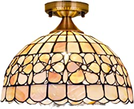 Euro Tiffany Style Pastoral Floral Ceiling Lights Handmade Natural Shell Ceiling Lamp Flower Art Ceiling Lighting Fixture ...
