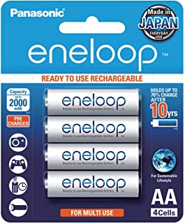 Panasonic AA Ready-to-Use Ni-MH Rechargeable Eneloop Batteries, 4-Pack (BK-3MCCE/4BA)