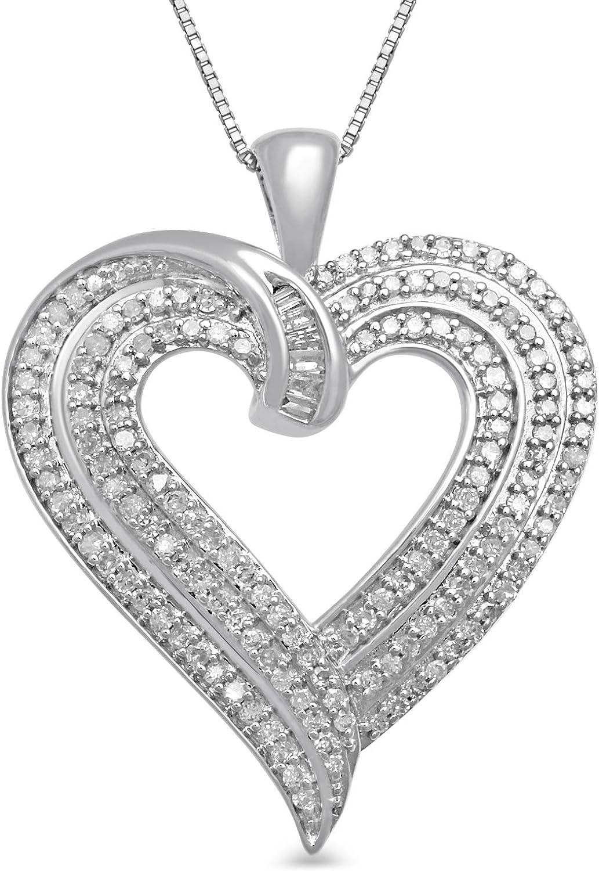 10kt white gold genuine diamond heart pendant with chain