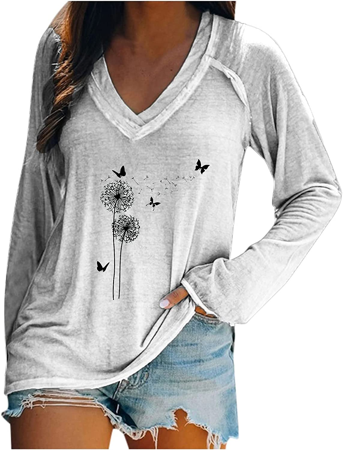 5665 Women's Long Sleeve Tunic Tops Casual V-Neck Graphic Shirts Loose Fit Pullover Tee Sweatshirts Workout Street Blouses