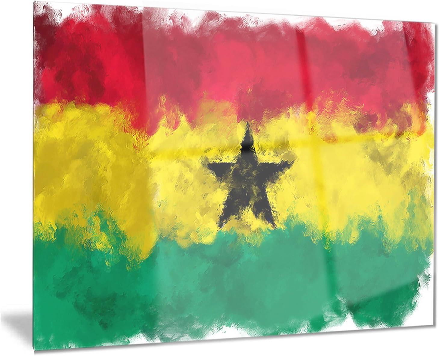 Designart Ghana Illustration-Flag Painting Virginia Beach Mall Metal Art-MT8259 Ranking TOP13 Wall