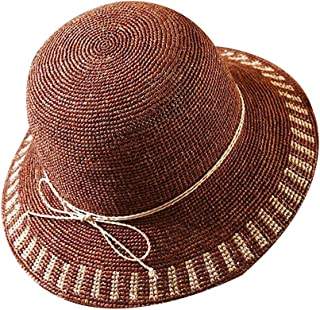 WN - Sombrero - Sombrero de Paja para Mujer Verano Playa Playa Vacaciones de ala Ancha Sombrero para el Sol Gorra de protección Solar Plegable contra los Rayos UV (3 Colores) Sombrero para Mujer
