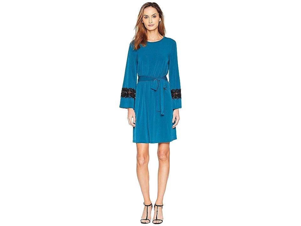 MICHAEL Michael Kors Lace Sleeve Cuff Dress (Luxe Teal) Women