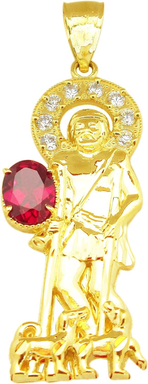 AMZ Jewelry 10K Yellow Gold St Lazarus Pendant Patron Charm with Red Stone