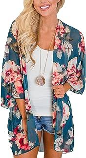 Women's Chiffon Blouse Loose Tops Beach Kimono Floral Print Cardigan