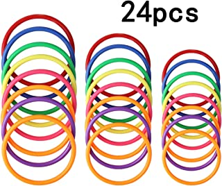HRLORKC Plastic Ring Toss Game Set Rings for Ring Toss for Kids Outdoor Games Plastic Carnival Rings Carnival Games for Carnival Party and Parent-Child Games