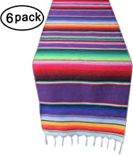 6 Packs Mexican Serape Table Runner with Tassels for Mexican Home Party Decorations Christmas Outdoor Wedding Ceremony, Colorful Striped Handwoven Fringe Cotton Blanket, Purple,14x84 inches
