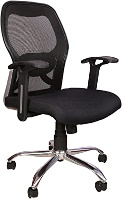 Rajpura Matrix Medium Back Revolving Chair with Centre Tilt mechanism in Black Fabric and mesh/net back Office Executive Chair