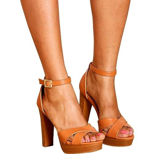 aeaab993779 Top Moda Toby 3 Womens Cross Strap Open Toe Chunky Heel Platform Sandals