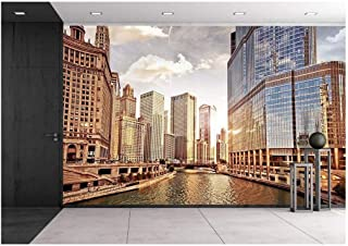 wall26 - Chicago Skyline at Sunset - Removable Wall Mural | Self-Adhesive Large Wallpaper - 100x144 inches