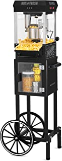 "Nostalgia KPM220CTBK 2.5 oz Professional Popcorn & Concession Cart with 5 quart Bowl, 45"" Tall, Makes 10 Cups, with Kernel..."