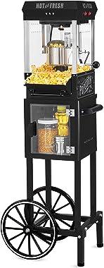 "Nostalgia KPM220CTBK 2.5 oz Professional Popcorn & Concession Cart with 5 Quart Bowl, 45"" Tall, Makes 10 Cups, with K"