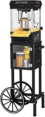 """Nostalgia KPM220CTBK 2.5 oz Professional Popcorn & Concession Cart with 5 Quart Bowl, 45"""" Tall, Makes 10 Cups, with Kernel & Oil Measuring Spoons & Scoop, 11"""" Wheels for Easy Mobility, Black"""