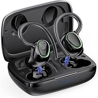 Auriculares Inalambricos Deportivos, Auriculares Bluetooth 5.1 con IP7 Impermeable, Cascos Inhalabricos con Mics y Sonido ...