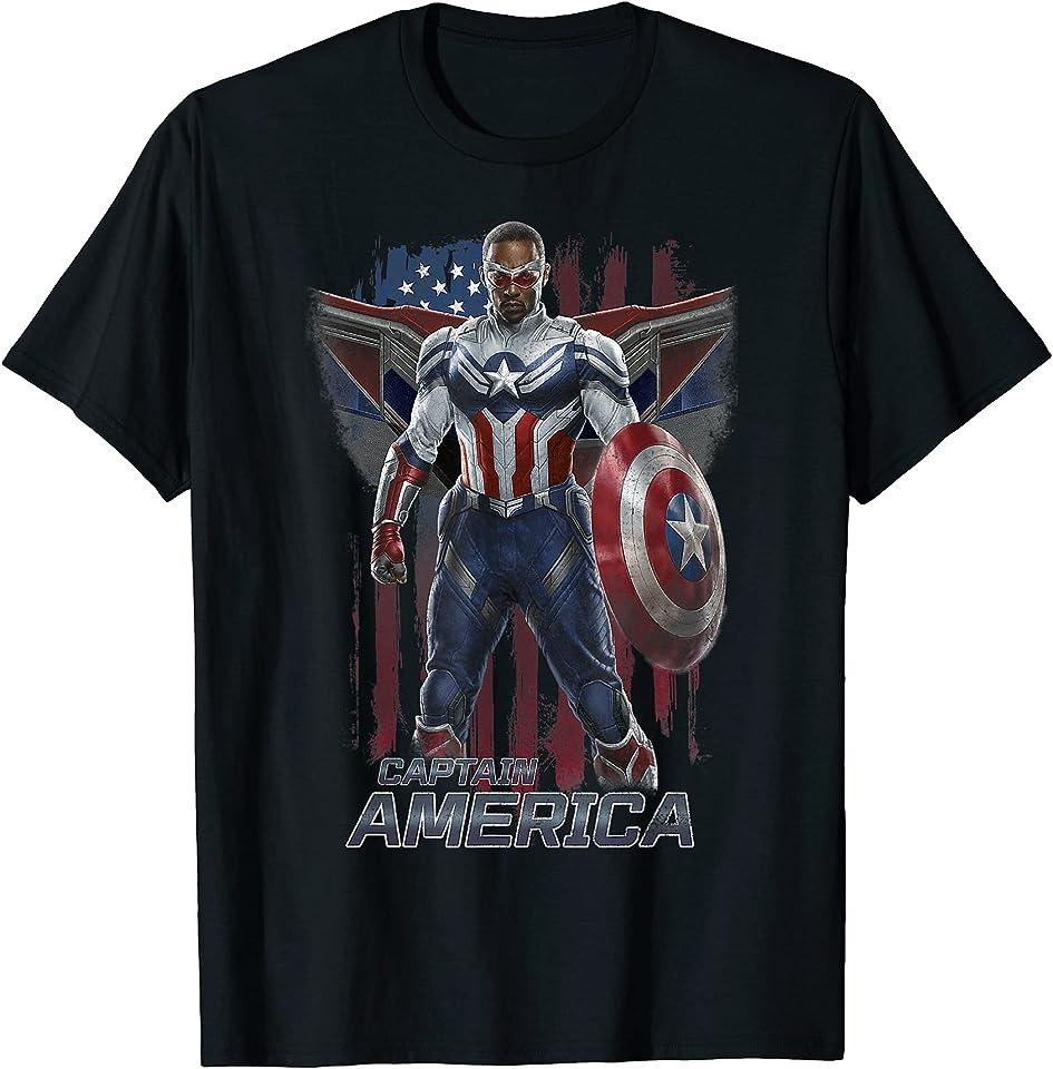 Falcon Winter Soldier Captain America Flag Portrait T-Shirt