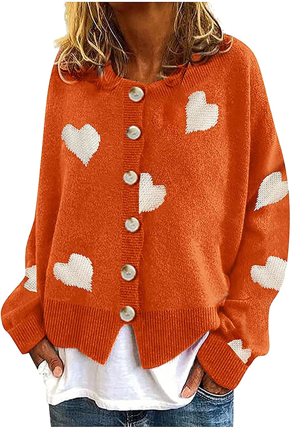 Women Open Front Knit Cardigan Cro Colorblock A surprise price is realized Button Down Heart Finally popular brand