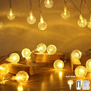 Battery Operated Globe String Lights,Water Proof 33 FT 80 LED Crystal Ball String Lights 8 Modes With Remote Control ,Indo...