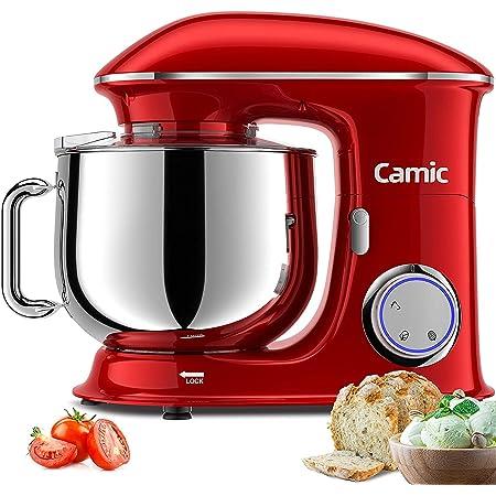 Camic Robot Pâtissier Multifonctions, Pétrin 8L 1500W Puissant, Robot de Cuisine avec Crochet Pétrisseur, Batteur, Fouet à Fil, Couvercle, Compatible Lave-vaisselle (8 L, rouge)
