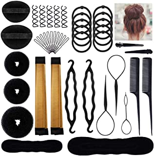 Aisonbo Hair Styling Accessories Bun Maker Set, Fashion Hair Design Styling Tools DIY Hair Accessories Hair Modelling Tool Kit Set Magic Simple Fast Spiral Hair for Girls Women (bunset-30p)