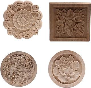PPCP Wood Applique Onlay Wood Decal Wood Frame Wood Craft Rubber Wood Ornamental European Decoration Furniture Doors Walls...