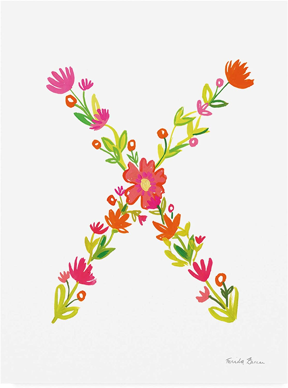Trademark Fine Art Floral Alphabet Letter XXIV by Farida Zaman, 14x19