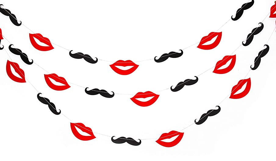 Lips and Mustache 10ft Party Paper Garland, Birthday Party Decor, Wedding Shower Decor, Nursery Décor