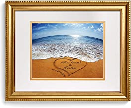 A&T ARTWORK Sand Writing - Personalized Art Picture Prints Gift, Includes Names and The Special Date for The Wedding Anniversary 14x11 inches & D-Mats UNFRAMED