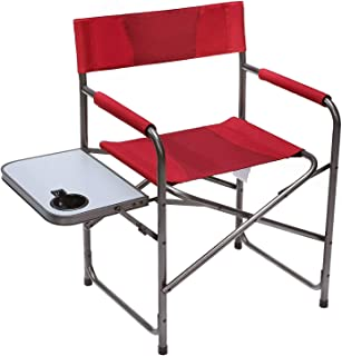 Portal Compact Steel Frame Folding Director's Chair Portable Camping Chair with Side..