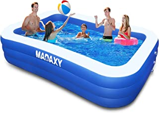 """Inflatable Pool, MADAXY Swimming Pool for Kids and Adults, 120"""" X 72"""" X 22"""" Oversized Thickened Family Inflatable Pool for..."""