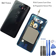 1x Eaglewireless Waterproof Rear Panel,Back Glass Cover Assembly Replacement Parts with Fingerprint/Camera Lens Cover for LG V30+ V30 V30+ H930 US998 (V30 B&O-Black)